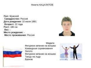 Никита КАЦАЛАПОВ Пол:Мужской Гражданство:Россия Дата рождения:10 июля 199