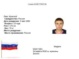 Семён ЕЛИСТРАТОВ Пол:Мужской Гражданство:Россия Дата рождения:3 мая 1990