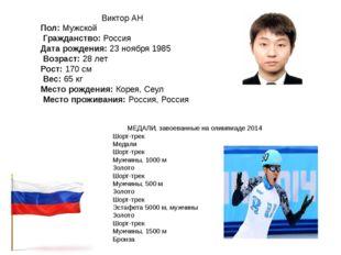 Виктор АН Пол:Мужской Гражданство:Россия Дата рождения:23 ноября 1985 Во