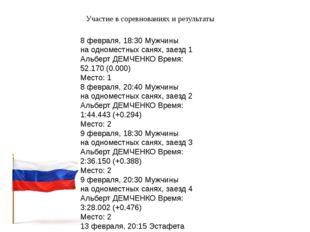 Участие в соревнованиях и результаты 8 февраля, 18:30 Мужчины на одноместных