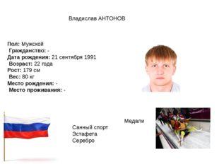 Владислав АНТОНОВ Пол:Мужской Гражданство:- Дата рождения:21 сентября 199