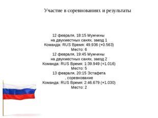 Участие в соревнованиях и результаты 12 февраля, 18:15 Мужчины на двухместных