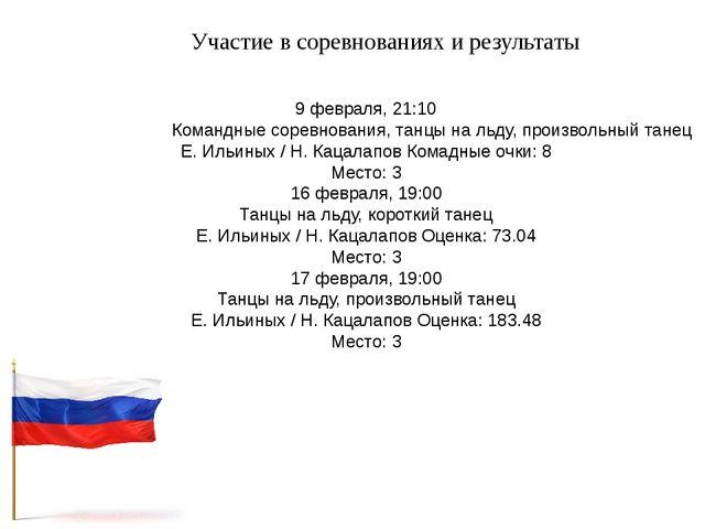 Участие в соревнованиях и результаты 9 февраля, 21:10Командные соревнования,...