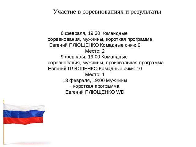 Участие в соревнованиях и результаты 6 февраля, 19:30 Командные соревнования,...
