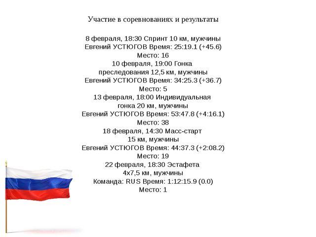 Участие в соревнованиях и результаты 8 февраля, 18:30 Спринт 10 км, мужчины Е...