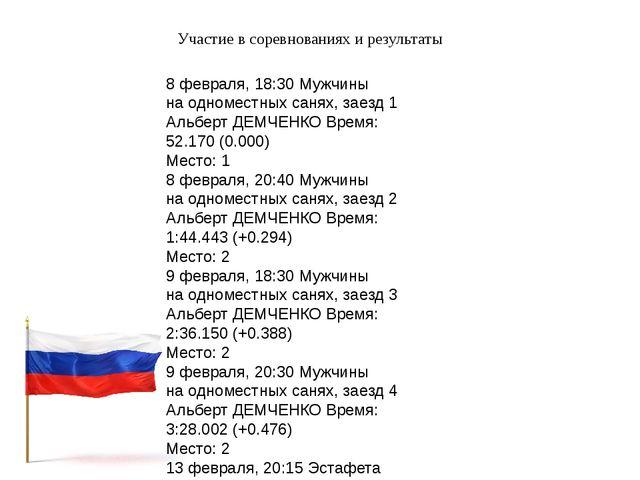 Участие в соревнованиях и результаты 8 февраля, 18:30 Мужчины на одноместных...