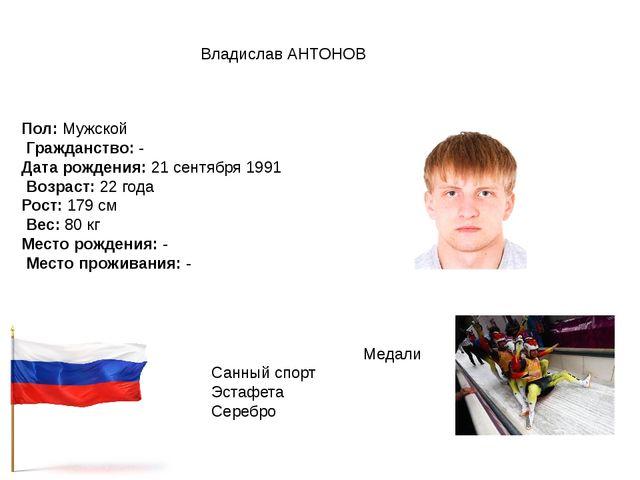 Владислав АНТОНОВ Пол:Мужской Гражданство:- Дата рождения:21 сентября 199...