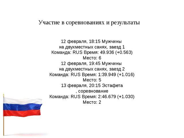 Участие в соревнованиях и результаты 12 февраля, 18:15 Мужчины на двухместных...