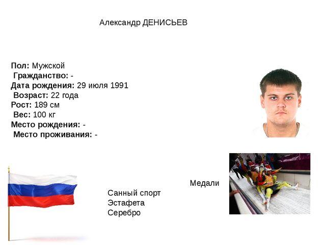 Александр ДЕНИСЬЕВ Пол:Мужской Гражданство:- Дата рождения:29 июля 1991 ...