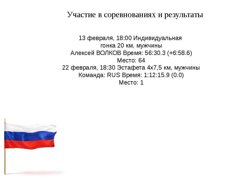 Участие в соревнованиях и результаты 13 февраля, 18:00 Индивидуальная гонка 2...