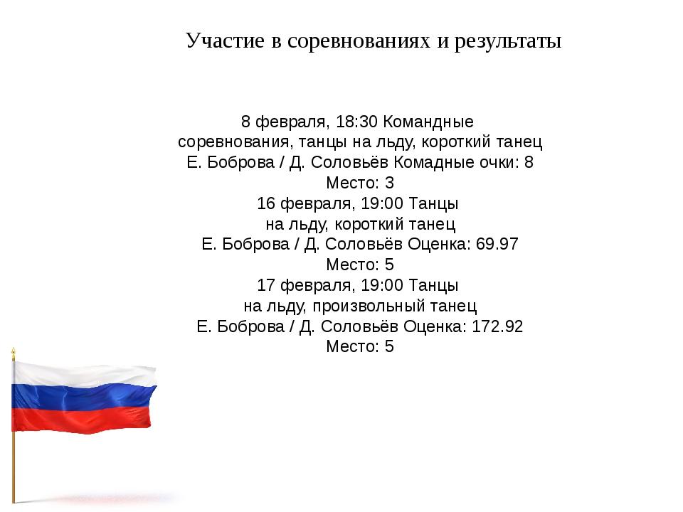 Участие в соревнованиях и результаты 8 февраля, 18:30 Командные соревнования,...