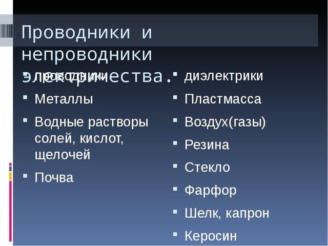 Проводники и непроводники электричества. проводники диэлектрики Металлы Водны...