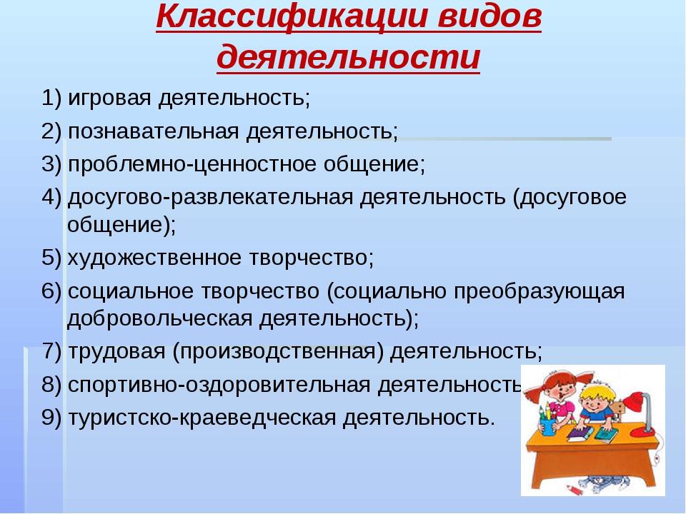 Классификации видов деятельности 1) игровая деятельность; 2) познавательная д...
