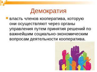 Демократия власть членов кооператива, которую они осуществляют через органы у