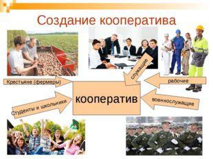Создание кооператива Крестьяне (фермеры) рабочие военнослужащие Студенты и шк