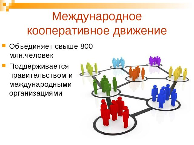 Международное кооперативное движение Объединяет свыше 800 млн.человек Поддерж...