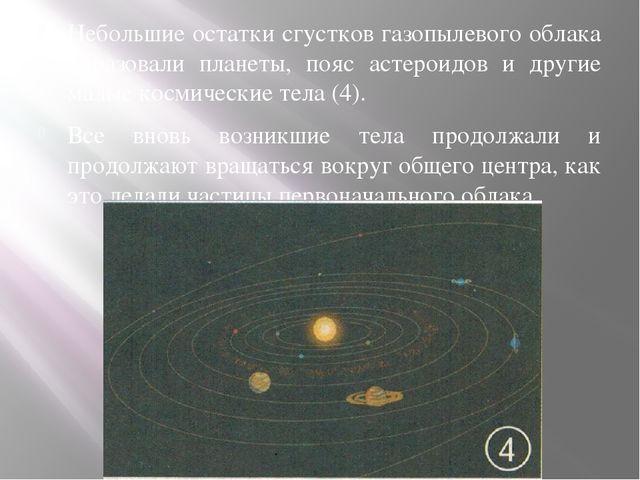 Небольшие остатки сгустков газопылевого облака образовали планеты, пояс астер...
