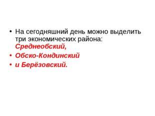 На сегодняшний день можно выделить три экономических района: Среднеобский, Об