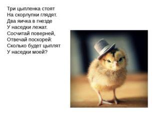 Три цыпленка стоят На скорлупки глядят. Два яичка в гнезде У наседки лежат. С