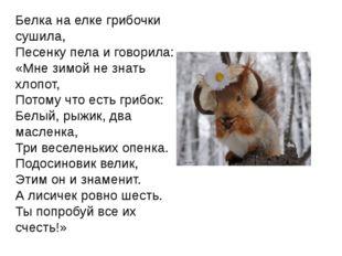 Белка на елке грибочки сушила, Песенку пела и говорила: «Мне зимой не знать х