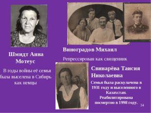 Виноградов Михаил Репрессирован как священник Шмидт Анна Мотеус В годы войны