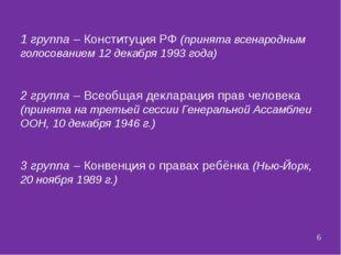 1 группа – Конституция РФ (принята всенародным голосованием 12 декабря 1993 г