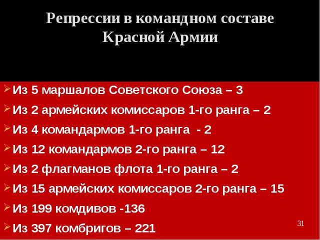 Из 5 маршалов Советского Союза – 3 Из 2 армейских комиссаров 1-го ранга – 2 И...