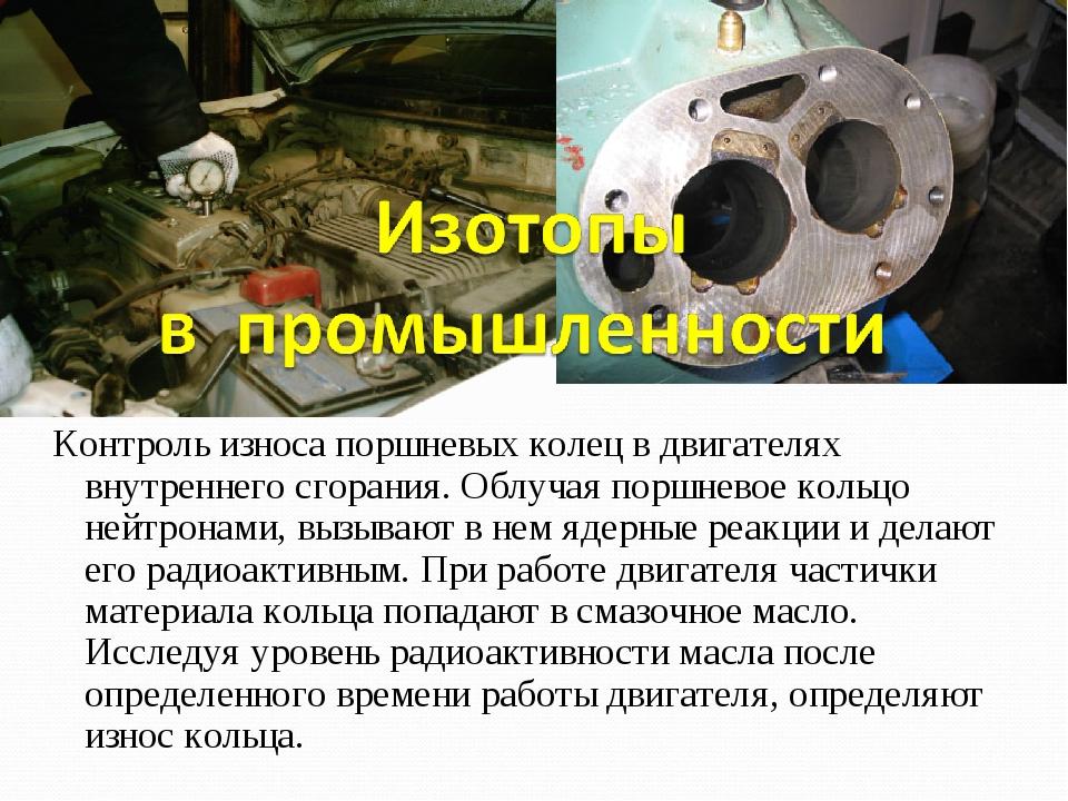 Контроль износа поршневых колец в двигателях внутреннего сгорания. Облучая по...