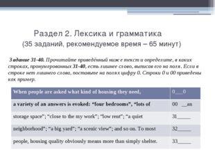 Раздел 2. Лексика и грамматика (35 заданий, рекомендуемое время – 65 минут)