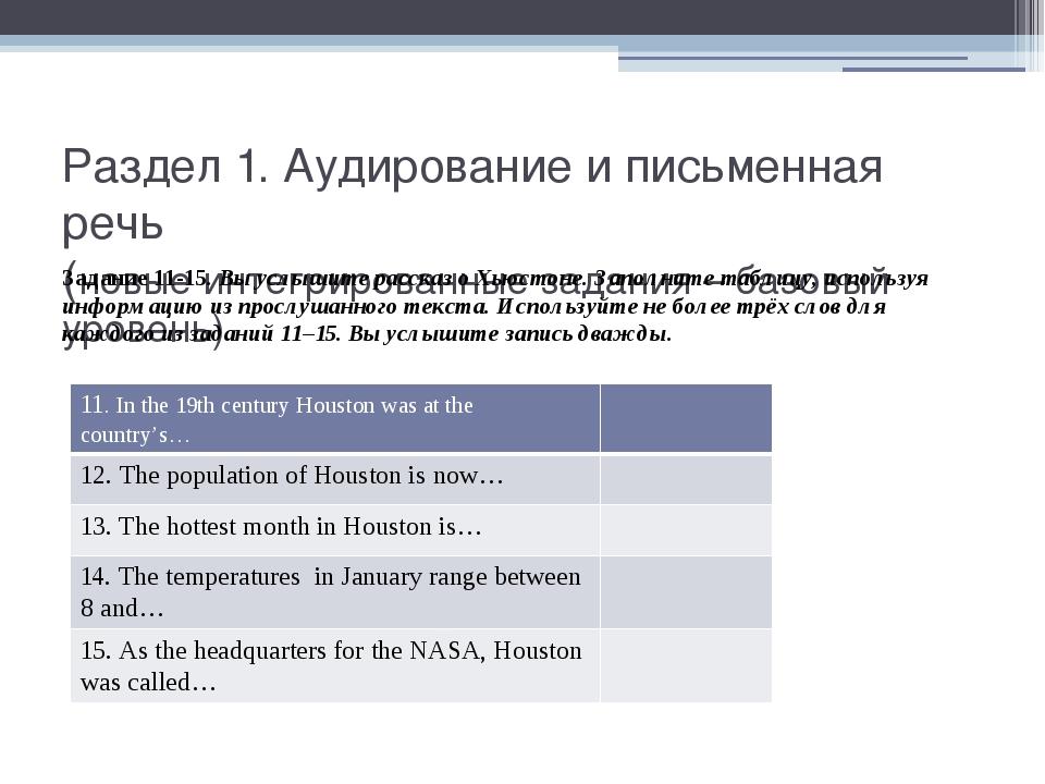 Раздел 1. Аудирование и письменная речь (новые интегрированные задания – базо...