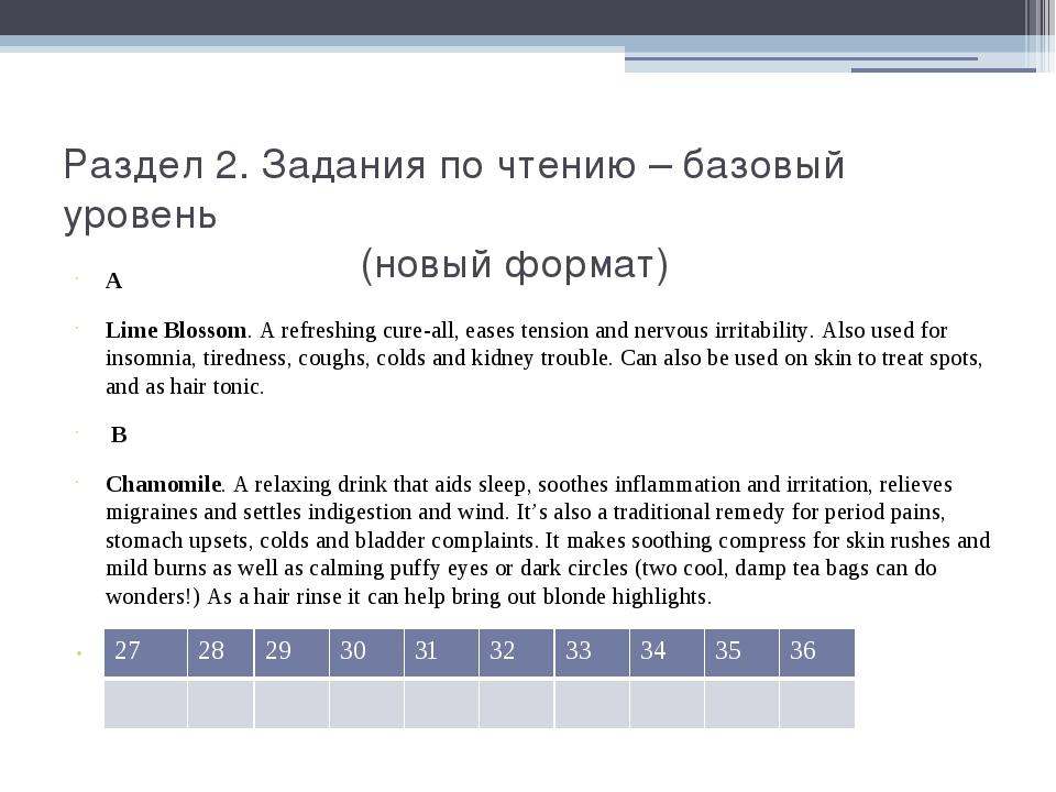 Раздел 2. Задания по чтению – базовый уровень (новый формат) A Lime Blossom....