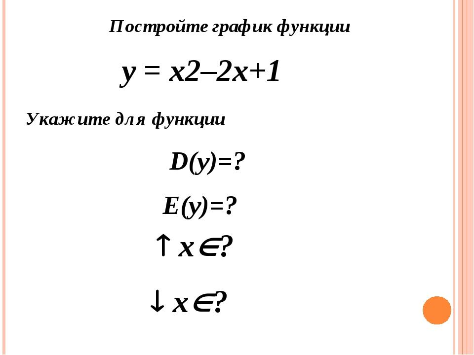 Постройте график функции у = х2–2х+1 Укажите для функции D(y)=? Е(y)=?  х?...