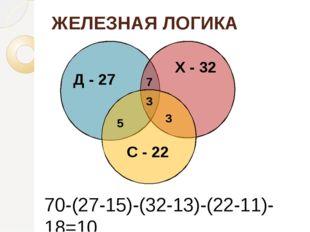 ЖЕЛЕЗНАЯ ЛОГИКА Д - 27 Х - 32 С - 22 3 7 3 5 70-(27-15)-(32-13)-(22-11)-18=10