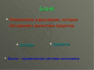 БАНК Финансовое учреждение, которое объединяет денежные средства вклады креди