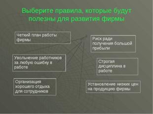 Выберите правила, которые будут полезны для развития фирмы Четкий план работы
