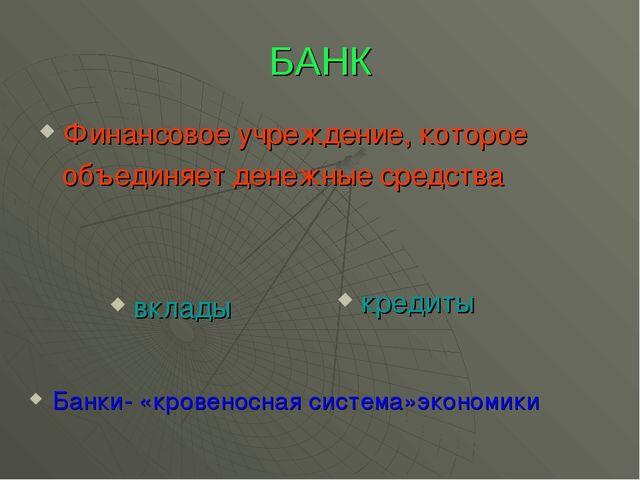 БАНК Финансовое учреждение, которое объединяет денежные средства вклады креди...