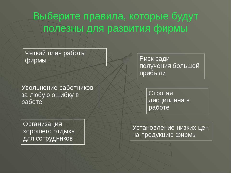 Выберите правила, которые будут полезны для развития фирмы Четкий план работы...