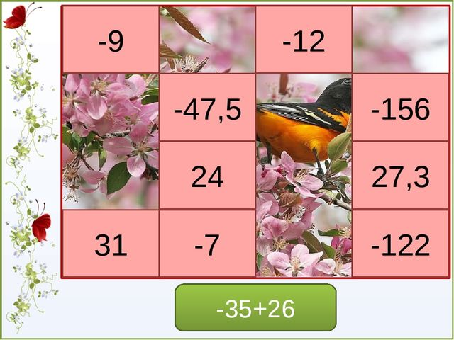 Игра - молчанка -6*8=48 6*(-4)=-24 9*(-3)=-27 -5*(9)=-45 -7*(8)=56 -4*(-9)=-3...