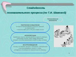 * Стадийность познавательного процесса (по Т.И. Шамовой)