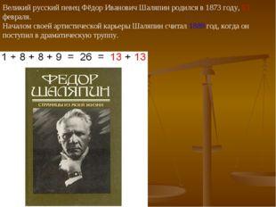 Великий русский певец Фёдор Иванович Шаляпин родился в 1873 году, 13 февраля.