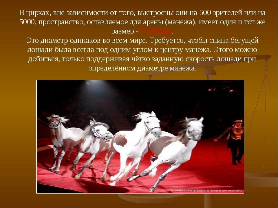 В цирках, вне зависимости от того, выстроены они на 500 зрителей или на 5000,...