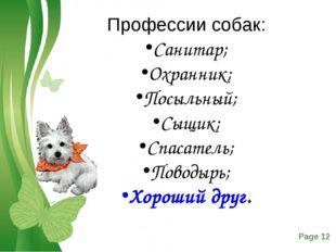 Профессии собак: Санитар; Охранник; Посыльный; Сыщик; Спасатель; Поводырь; Хо