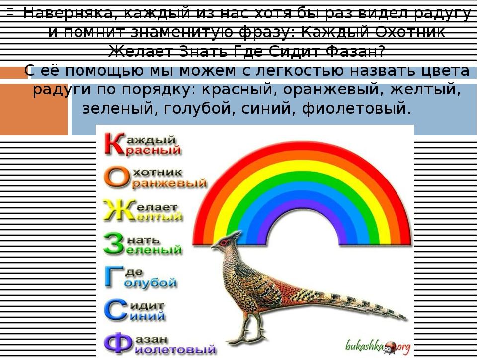 Наверняка, каждый из нас хотя бы раз видел радугу и помнит знаменитую фразу:...