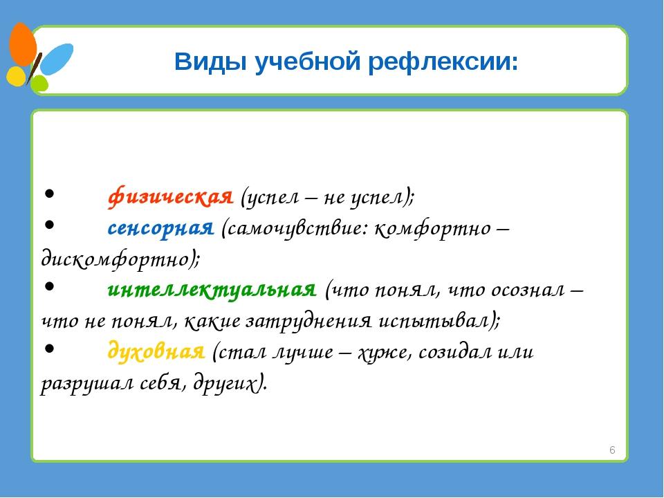 Виды учебной рефлексии: •физическая (успел – не успел); •сенсорная (самочув...