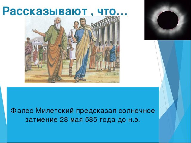 Рассказывают , что… Фалес Милетский предсказал солнечное затмение 28 мая 585...