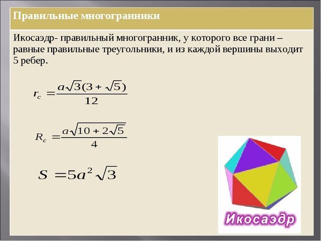 Правильные многогранники Икосаэдр- правильный многогранник, у которого все гр...