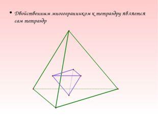 Двойственным многогранником к тетраэдру является сам тетраэдр
