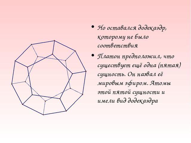 Но оставался додекаэдр, которому не было соответствия Платон предположил, что...