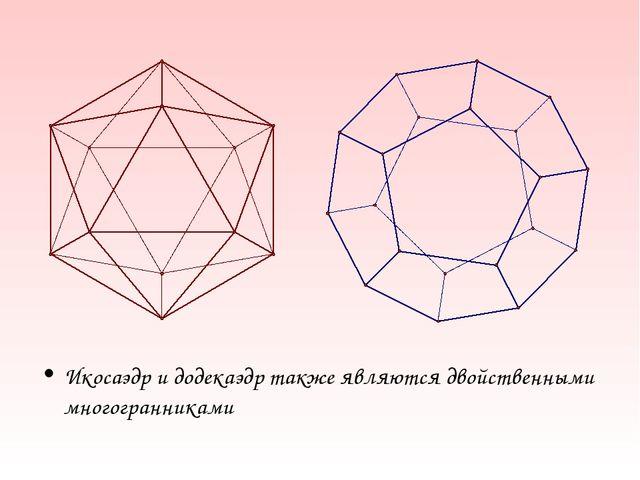 Икосаэдр и додекаэдр также являются двойственными многогранниками