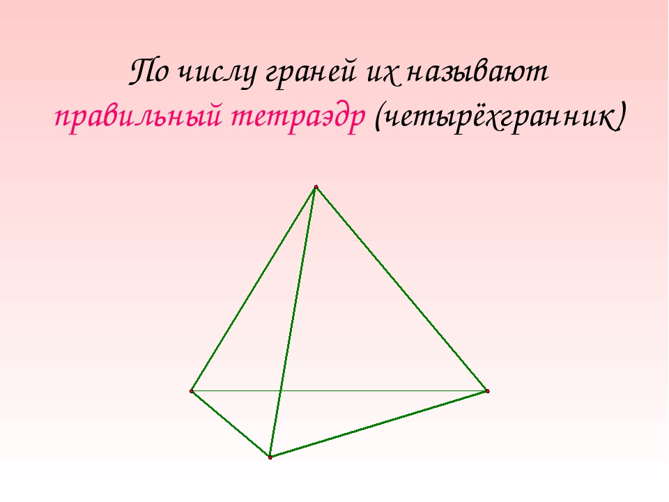 По числу граней их называют правильный тетраэдр (четырёхгранник)